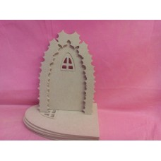 4mm MDF holly arch fairy door with arched window pack of 4